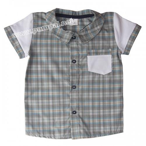 Риза сиво райе с джоб