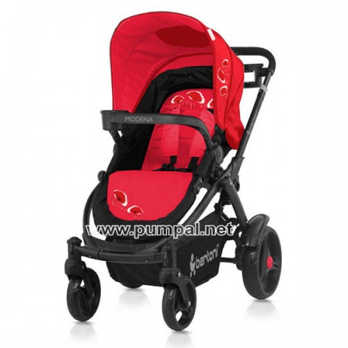 Комбинирана количка MODENA Black and Red Poppies