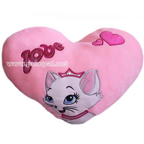 Голямо плюшено сърце с коте