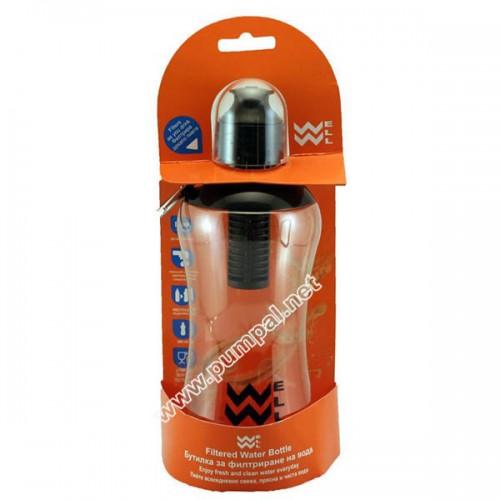 Бутилка за филтриране на вода Wellbottle Black