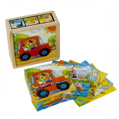 Дървени кубчета Весели животни