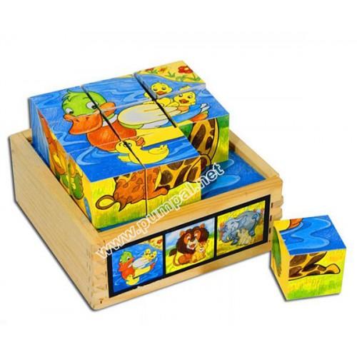 Дървени кубчета Животни