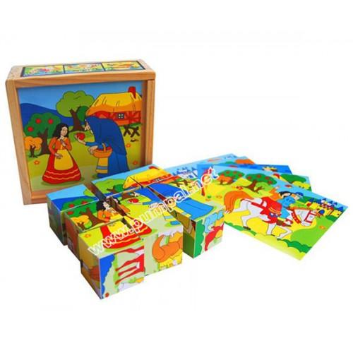 Дървени кубчета с герои от приказките