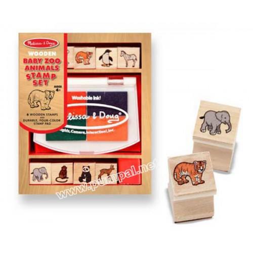 Дървени печати животни Зоопарк