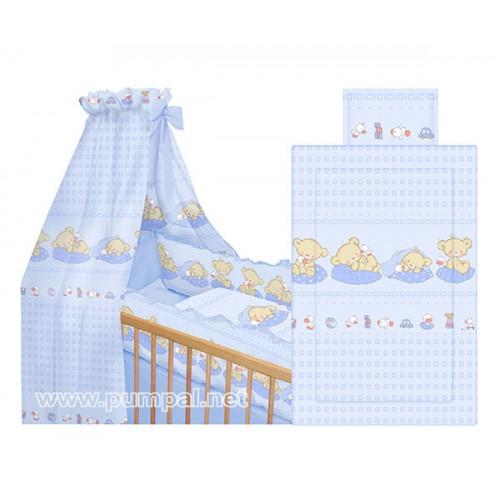 Комплект за детско легло Мечета в синьо