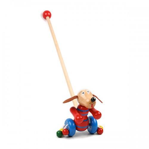 Дървена играчка за бутане Кученце