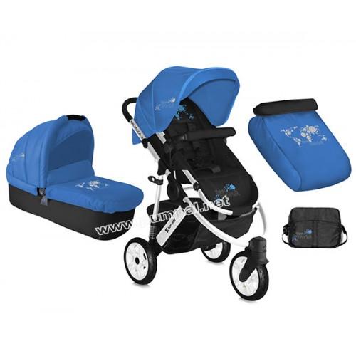 Комбинирана количка Lorelli Monza Blue с въздушни гуми